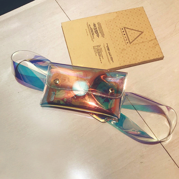 Luxury Rainbow Laser Waist Bag Women Fashion Transparent Jelly Belt Bags Shiny Mirror Surface Pockets PVC Color Messenger Bag holographic belt purse