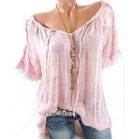Summer Women Blouse Lace Up Shirt Short Sleeve Off The Shoulder Slash Neck Loose Casual Basic