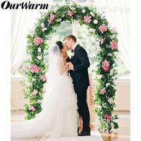 OurWarm Wedding Balloon Arch White Metal Arch Bridal Party DIY Decoration with Flower Arch for Wedding