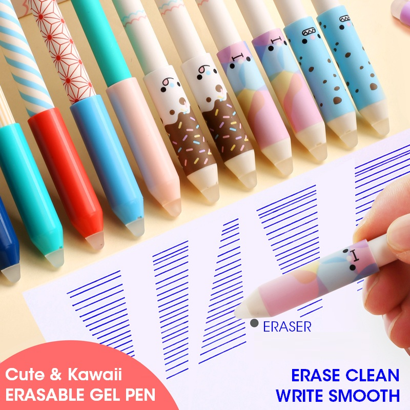 M&G 12pcs/lot Kawaii Cute Erasable Pen Erasable Pens With Eraser Gel Ink Pen 0.5mm Writes Erases Refill For School Black Blue