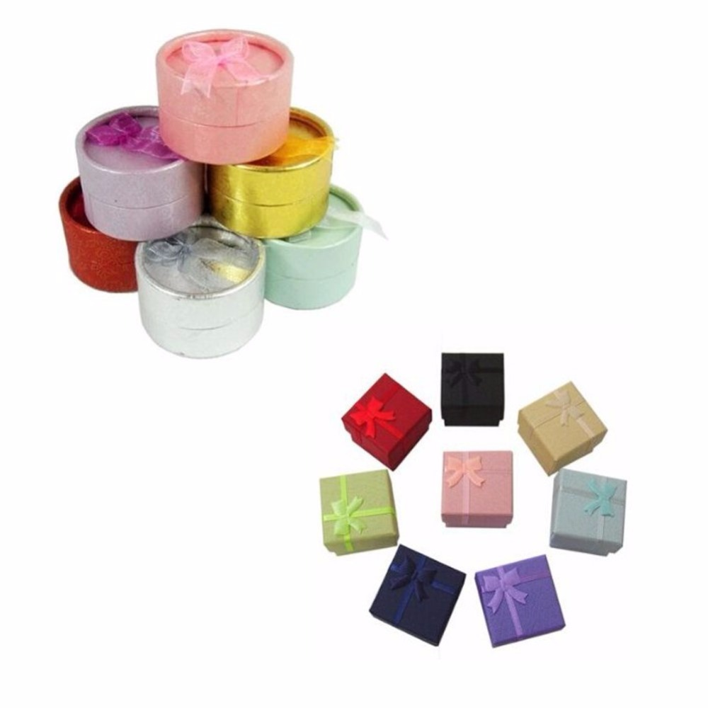 12 PCS Random Color 5x5cm Round And 4x4cm Square Shape Cutely Small Gift Box For Ring Earrings Jewelry