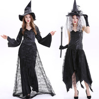 Free shipping adult Long style death Witch Dress European and American Halloween Witch cosplay Costume for women JQ 1127