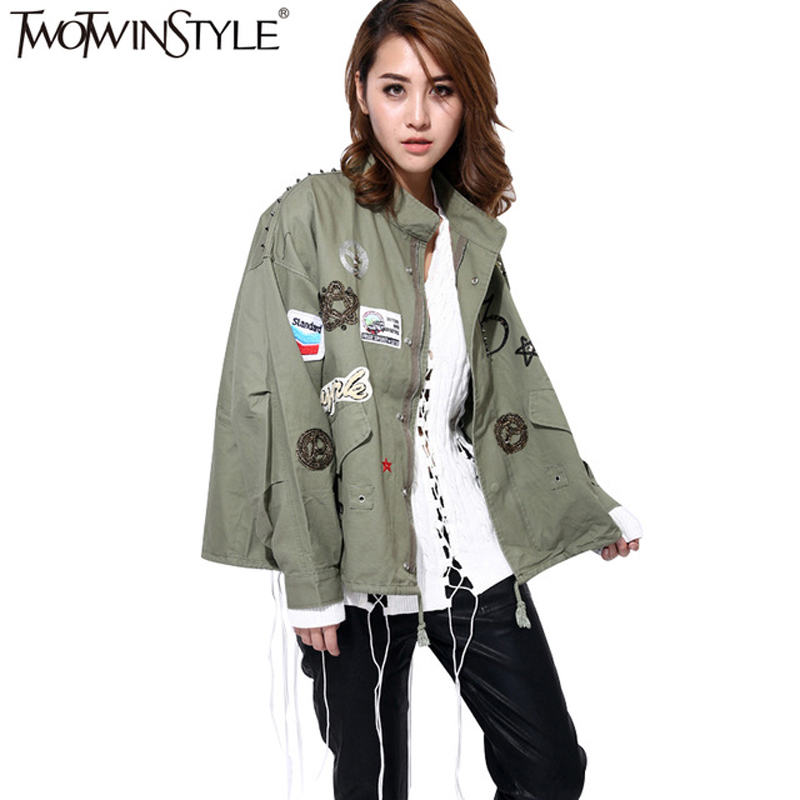 TWOTWINSTYLE Rivet Bomber Female Jacket Patch Design Batwing Long Sleeve Windbreaker Coat Autumn Casual Clothes Big