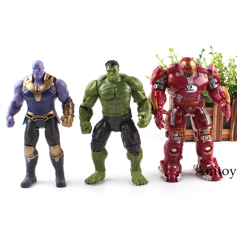 Marvel Avengers Superhero and Supervillain Thanos Hulkbuster Hulk Iron Man Action Figure Toy Gift for Kids 17cm funko pop marvel the hulk no 08 red hulk no 31 iron man vinly bobble head pvc action figure collectible model toy gift for kids