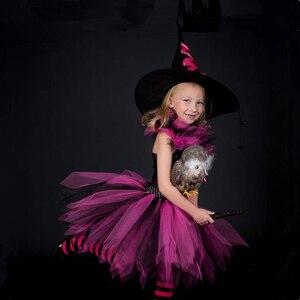 Image 5 - Dziewczyny czarownica Tutu sukienka gorące różowe i czarne dzieci Halloween karnawał Cosplay strój czarownicy dzieci sukienek dla dziewczynek 2 12Y