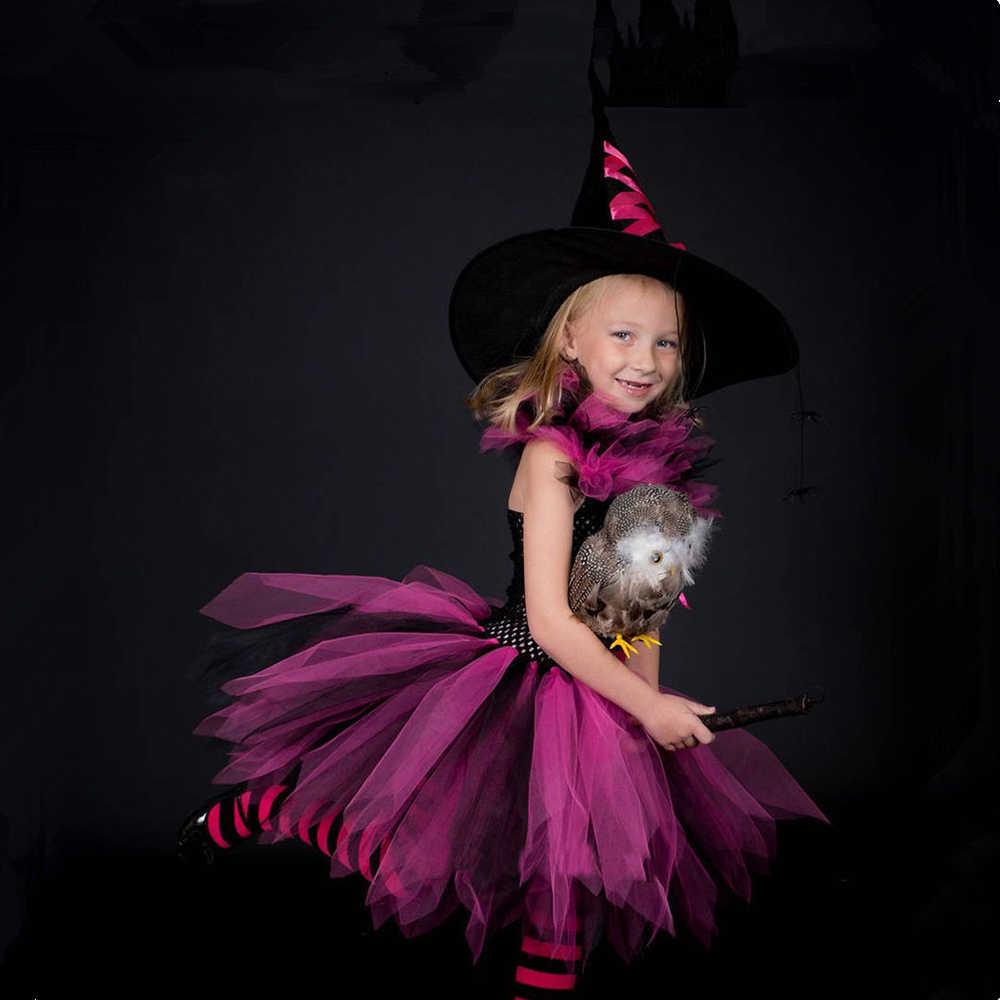 Vestido Tutú De Bruja Para Niñas Vestido Rosa Y Negro Para Niños Carnaval De Halloween Traje De Bruja Cosplay Para Niños Vestidos De Fiesta Para Niñas