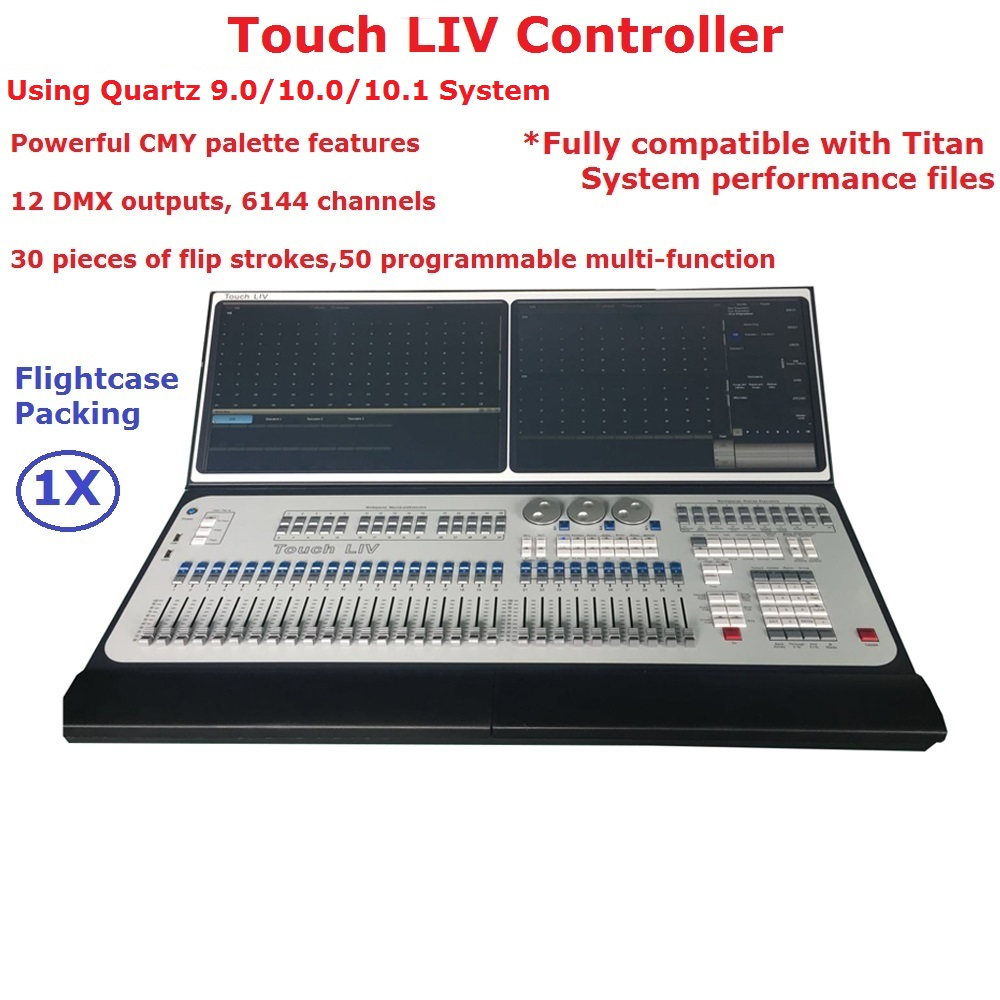 New Arrival Touch LIV Controller Large Outdoor/Indoor Professional Stage Lighting Console With 12 DMX outputs, 6144 Channels