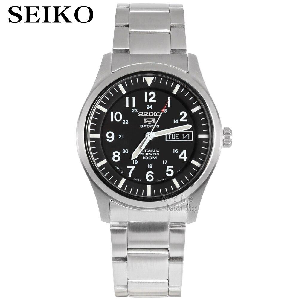 Reloj seiko para hombre 5 reloj automático de marca de lujo reloj de pulsera deportivo resistente al agua fecha relojes de hombre reloj de buceo relogio masculino SNZG-in Relojes deportivos from Relojes de pulsera    1