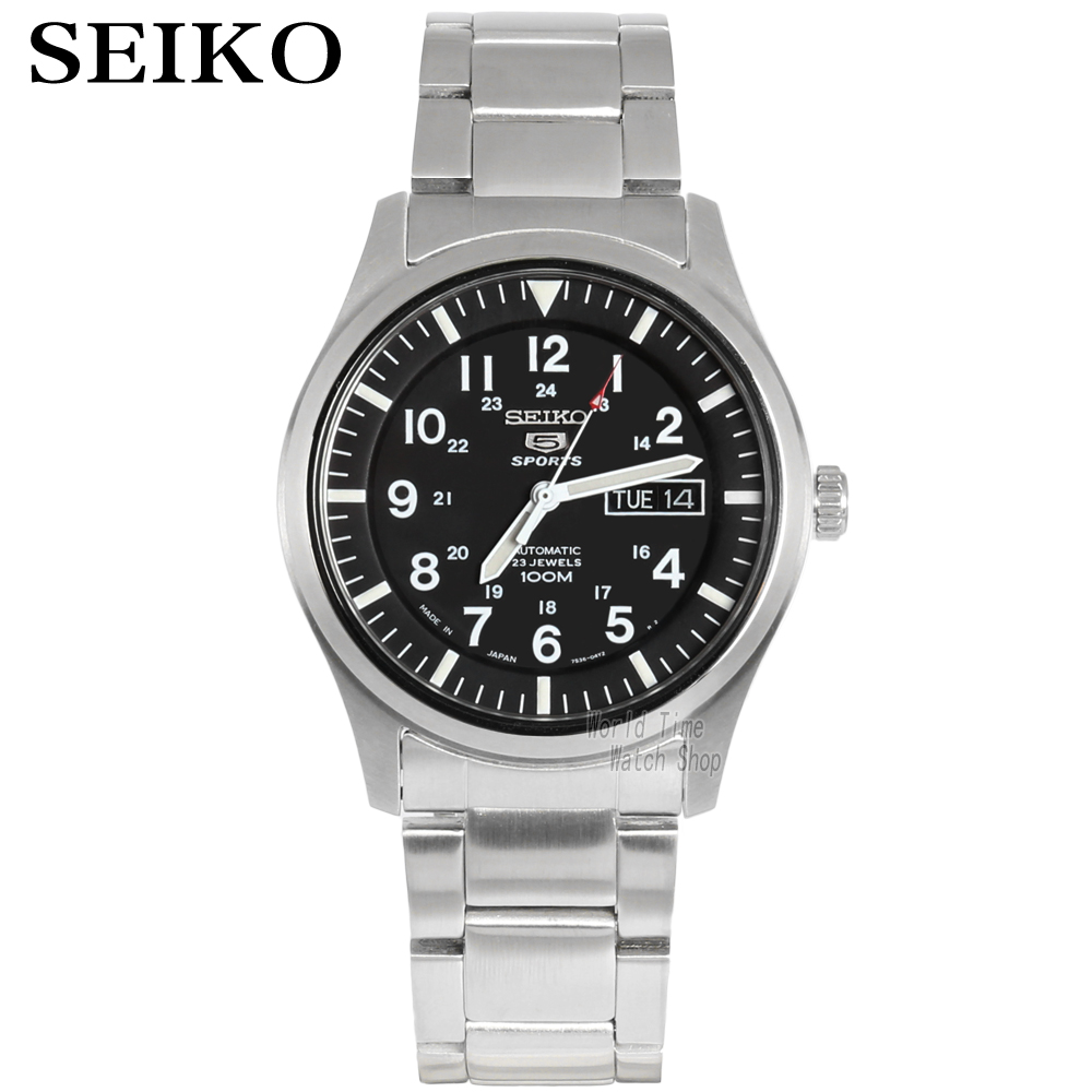 seiko watch men 5 automatic watch Luxury Brand Waterproof Sport Wrist Watch Date mens watches diving watch relogio masculin SNZG-in Sports Watches from Watches