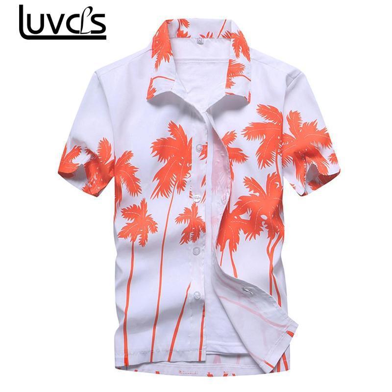 LUVCLS Mens Hawaiian Shirt 2018 Summer Short Sleeve Printed Shirt Casual Beach Men Shirts Loose Summermmen Shirt Plus Size M-5x