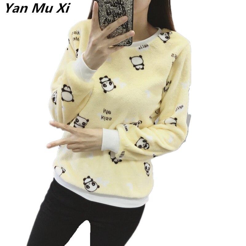 Winter Warm Flannel Fabric YANMUXI 2018 New Fashion Cute Panda Print Harajuku Women's Sweatshirt Casual Long Sleeve Hoodies Tops