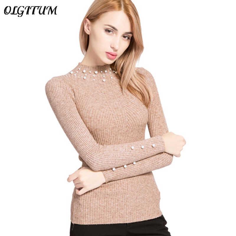 2019 새로운 가을/겨울 여성 진주 파란색 된 스웨터 높은 탄성 슬림 여성 o-넥 긴 소매 니트 스웨터와 풀 오버 sw854