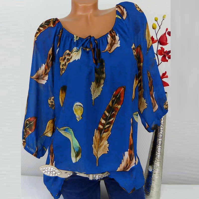 5XL プラスサイズトップ女性シャツブラウス作業夏チュニック 3/4 スリーブルーズシフォンブラウスフェザープリント V ネックシャツ blusas Mujer
