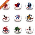 Hot sellings 9Pcs/lot  Avengers Super Man super Heros Buttons Pins Badges Round Brooches Badges Clothes Decoration Kids Gift
