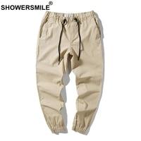 SHOWERSMILE Khaki Men Linen Pants Casual Drawstring Elastic Trousers Male Slim Fit Summer Spring Fashion Clothes