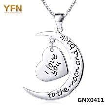 GNX0411 100% Pure 925 Collar de Plata Para Las Mujeres 2016 Joyería de moda Te Amo a La Luna abd Back Collar