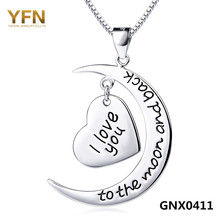 GNX0411 100% Actual Pure 925 Sterling Silver Necklace For Ladies 2016 Trend Jewellery I Love You to The Moon abd Again Necklace