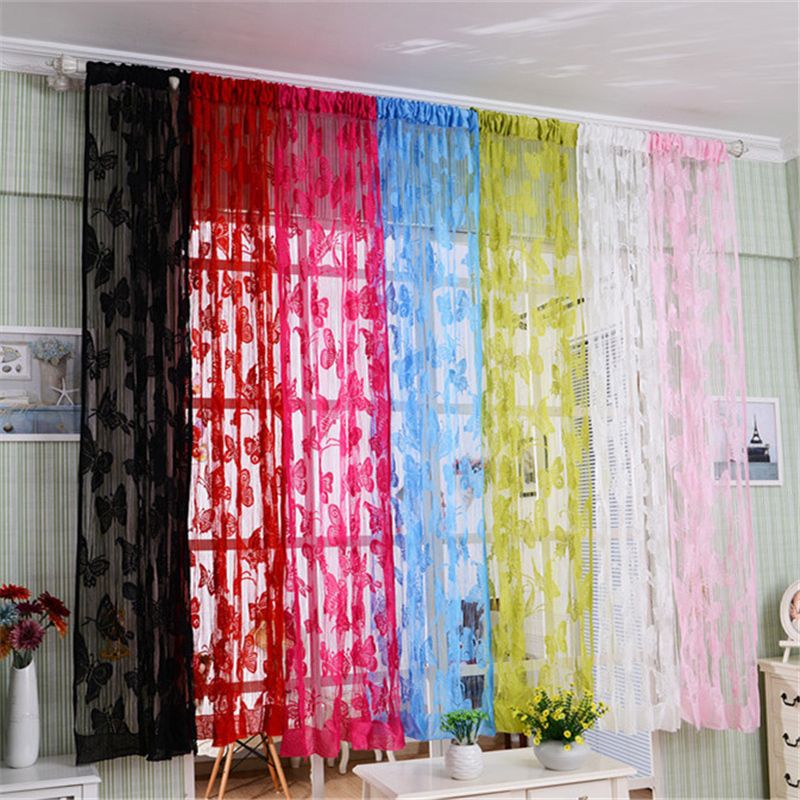 colorful butterfly line tassel string door curtain window room divider 119m curtains tulle