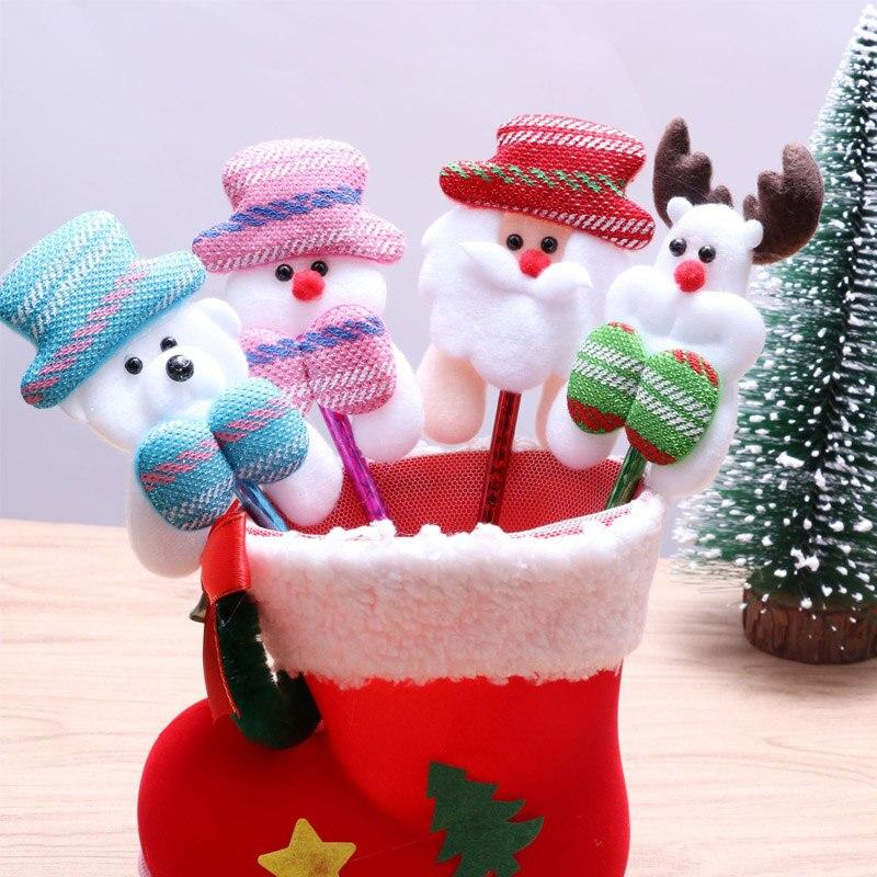 1//5pcs Santa Claus Snowman Plush Ball Point Pen Christmas Gifts Children Kids