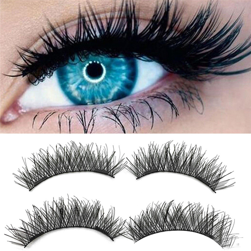4Pcs Double Magnets Magnetic Eyelash Black Long 3d Fake Lashes Hair Extension Makeup Reusable Invisible Natural False Eyelashes