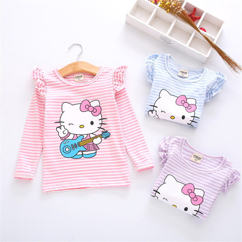 Cartoon KT Girls Long Sleeve T Shirts Cotton Striped Children Kids Tops Clothing Girls Cute Tee Clothes for 2-8Y Spring New 2018 все цены