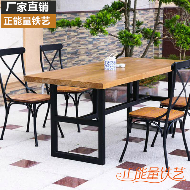 Cheap Western Dessert Fondue Restaurant Cafe Iron Wood Dining Table And  Four Chairs Dining Table And