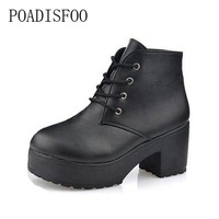 POADISFOO 2017 Thick Soled Boots And High Heeled Platform Cross Straps Martin Boots Punk Coarse