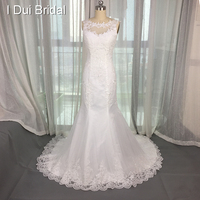 Free Shipping 2015 New Style A Line Sleeveless Lace Appliqued Illusion Neckline Court Train Wedding Dress