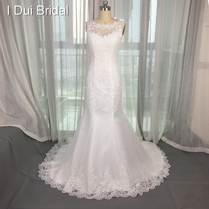 New Style Sleeveless Lace Appliqued Illusion Neckline Court Train Wedding Dress Factory Custom Make Real Photo