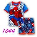 2016 мальчика мода мультфильм паук детей пижамы костюм пижамы 100% нью-младенца хлопка комплект мультфильм футболки + шорты