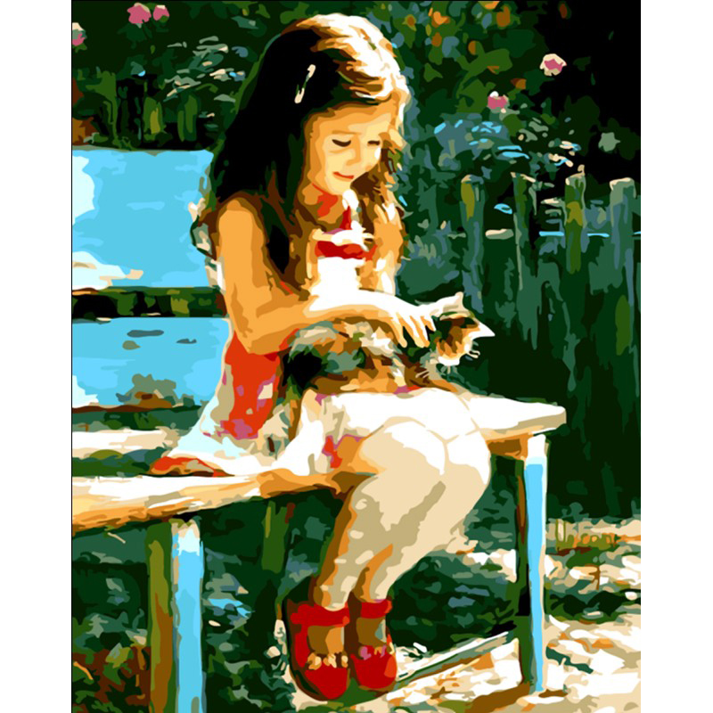 0527ZC176 Home wall furniture Decorations DIY number painting children the girl on the chair in the park painting by numbers pretty girl in the lavender field oil painting