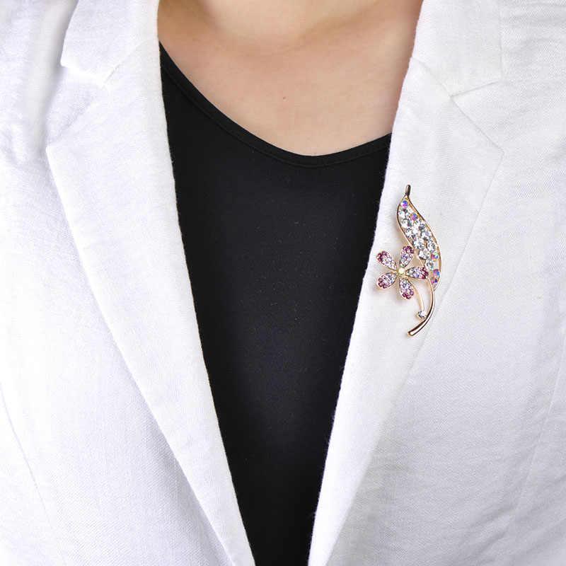 Funmor Indah Bunga dengan Daun Bentuk Bros untuk Wanita Wanita Ungu Kristal Korsase Perjamuan Kemeja Gaun Aksesoris Kerah Pin