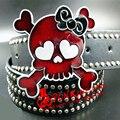 Correia das mulheres da moda punk rock crânio Cinto bowknot rebites completos cintos de hip hop estilo de rock Heavy metal cintos de presente para mulheres