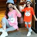 Новая Мода 2016 Осень Подростковой Одежды Девушки Устанавливает 2 ШТ. Fox Kids Одежды Девушка Футболки + Леггинсы Брюки Дети Осень одежда