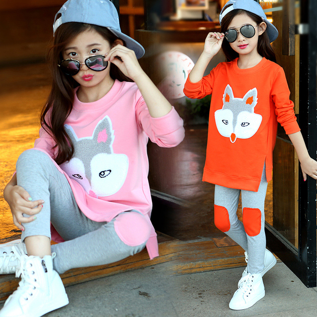 New Fashion 2016 Autumn Teenage Clothes Girls Sets 2PCS Kids Fox Clothes Girl T-shirt + Leggings Pants Children Fall Clothing