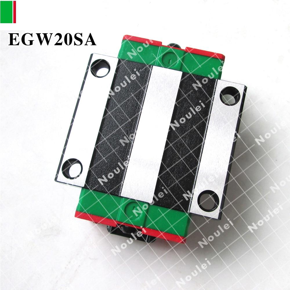 HIWIN EGW20SA sliding guide block for 20 mm linear rail EGW20 SA CNC parts free shipping to argentina 2 pcs hgr25 3000mm and hgw25c 4pcs hiwin from taiwan linear guide rail