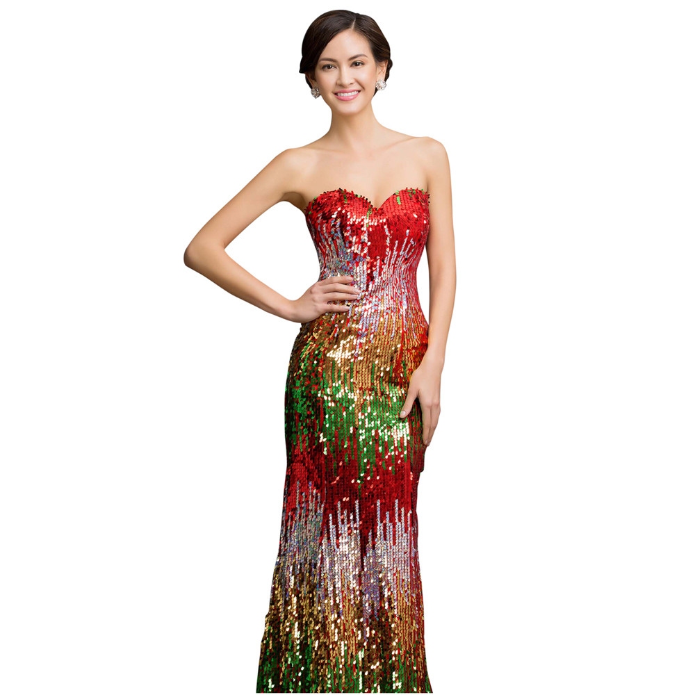 Sweetheart Colorful Sequins Lace Evening Dress 18
