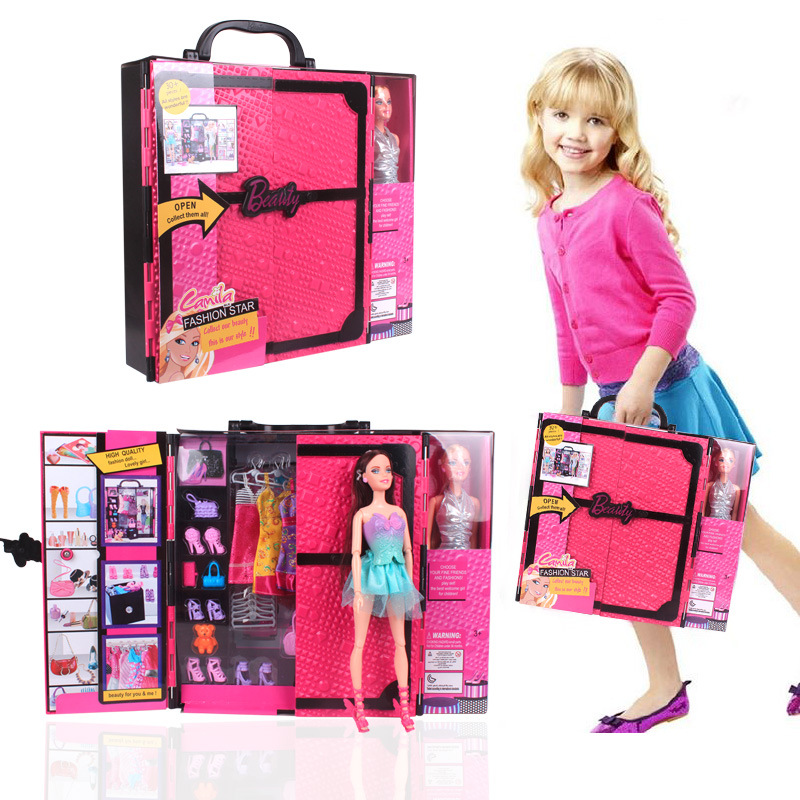 ФОТО New Chest Pink Luxury Suitcase Toy Barbie Doll Accessories Fashion Clothing Dress Shoes Bags Home Pretend Play Gift for Girl