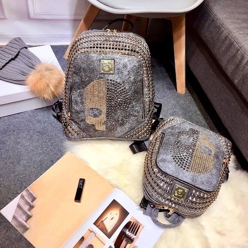 Skull Backpack Couple-Bags Rivets Women Travel Unisex Pu for Teen Girl Casual Punk