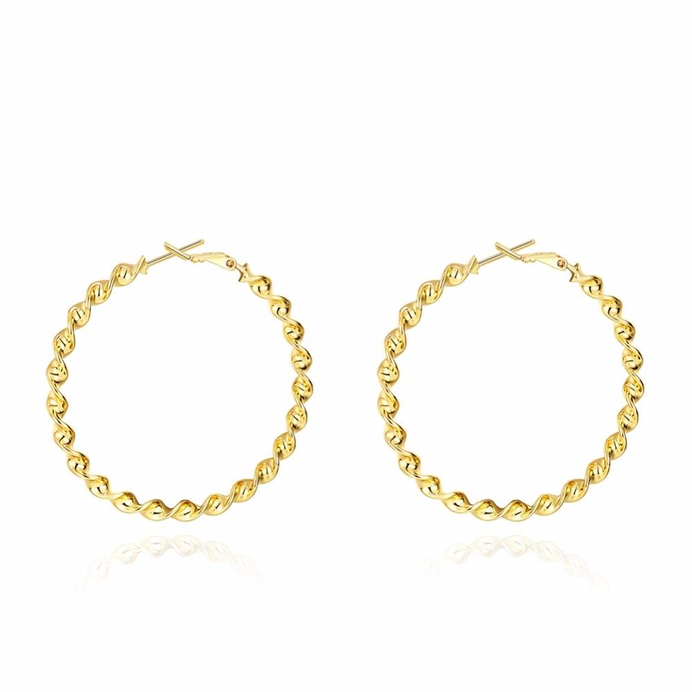 Trendy Gold Color Large Round Creole Hoop Earrings Romantic Piercing Women Jewelry Anting Wanita Cantik Bijoux Super Internet men beaded bracelet red