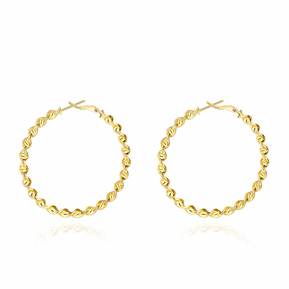 Online Shop Trendy Gold Color Large Round Creole Hoop Earrings ...
