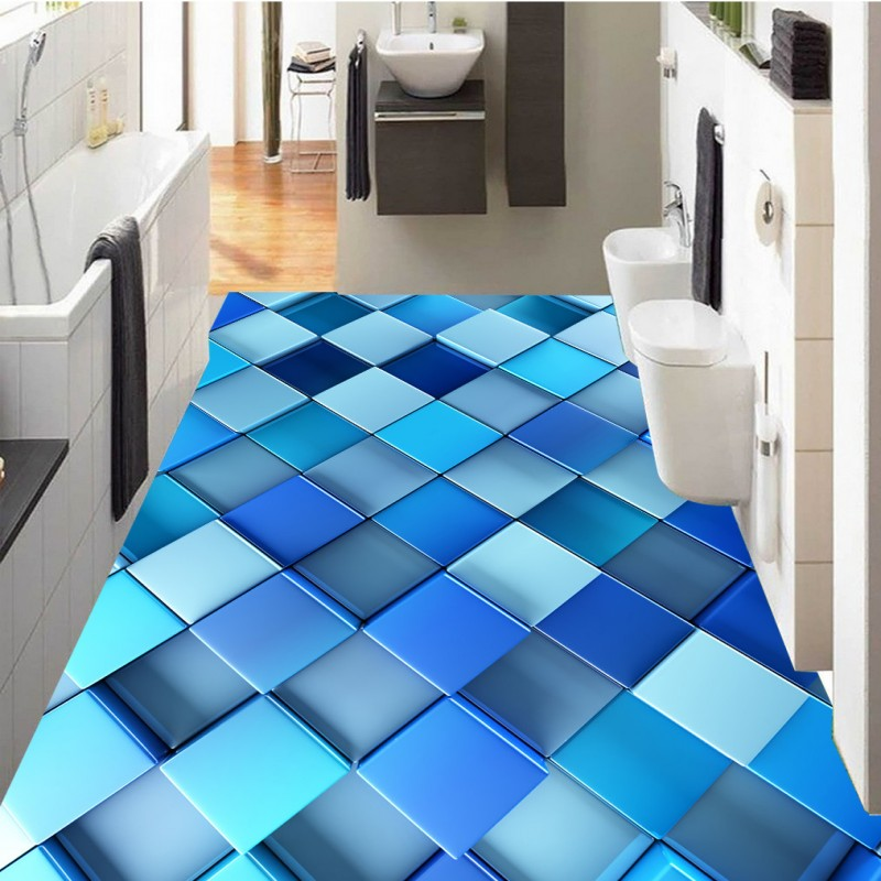 ФОТО Free Shipping self-adhesive corridor bathroom flooring wallpaper mural Abstract blue dynamic box 3d flooring home decoration