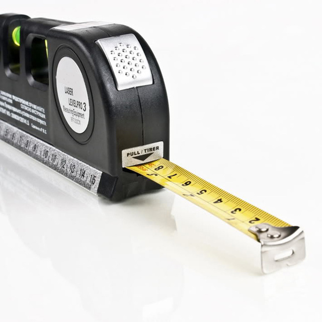 Multipurpose Level Laser Horizon Vertical Measure Tape 8FT Aligner Bubbles Ruler Tool for Hanging Pictures Laying Flooring