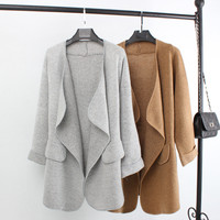 New Autumn Top Grade Open Stitch Long Cotton Wool Women Cardigan Fashion Casual Plus Size Woman