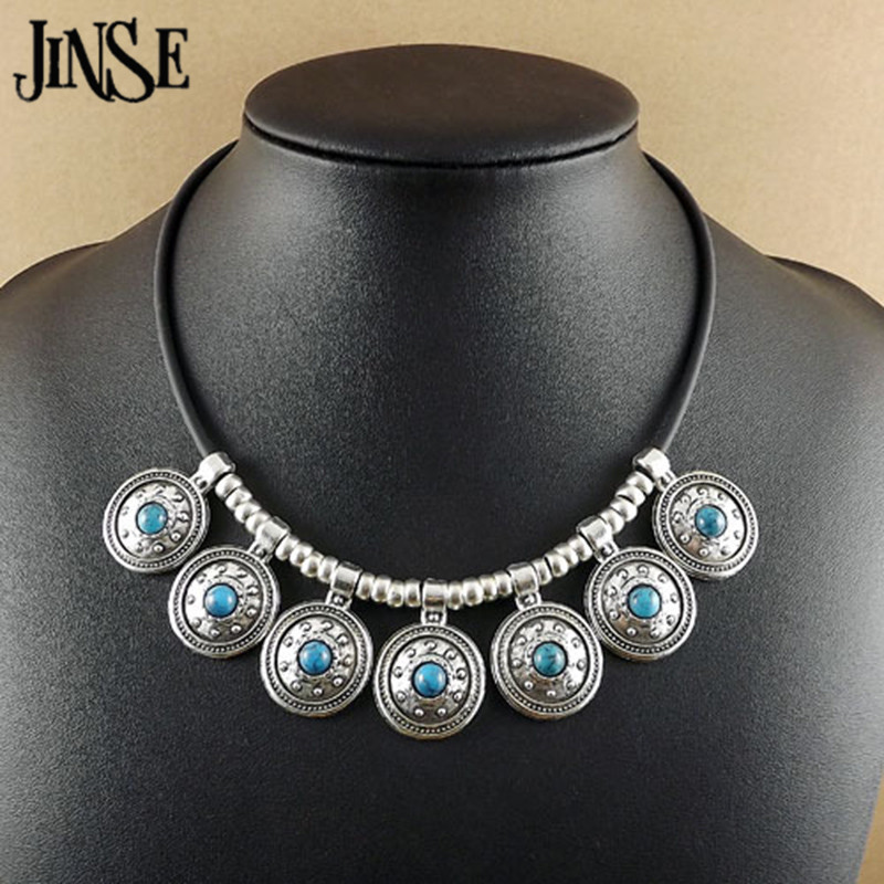 6bcff522f141 Click here to Buy Now!! JINSE bls109 Для женщин мода натуральной кожи цепи  камень Ожерелья для мужчин Круглый тибетский серебряный кулон ...