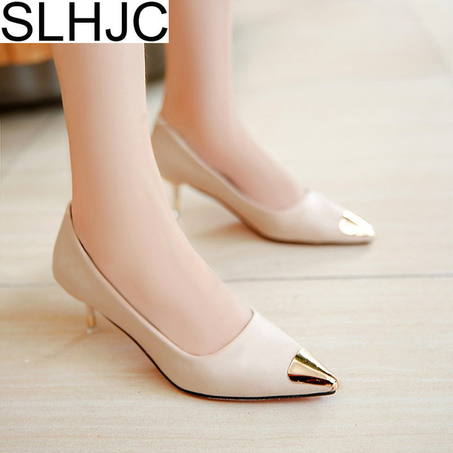 SLHJC 2018 Spring Pointed Toe Metal Low Heel Shoes Shallow Mouth Thin Heels Leather Women Office Pumps