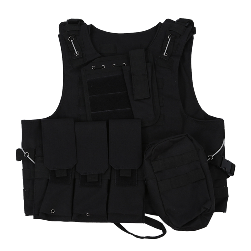 TOP!- Vest Nylon Jacket Black MOLLE  Combat Airsoft Paintball