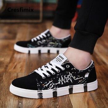 Cresfimix мужской моды большие размеры черный узор обувь на шнуровке Мужская Повседневная Удобная Осенняя обувь человека Прохладный обувь для ...