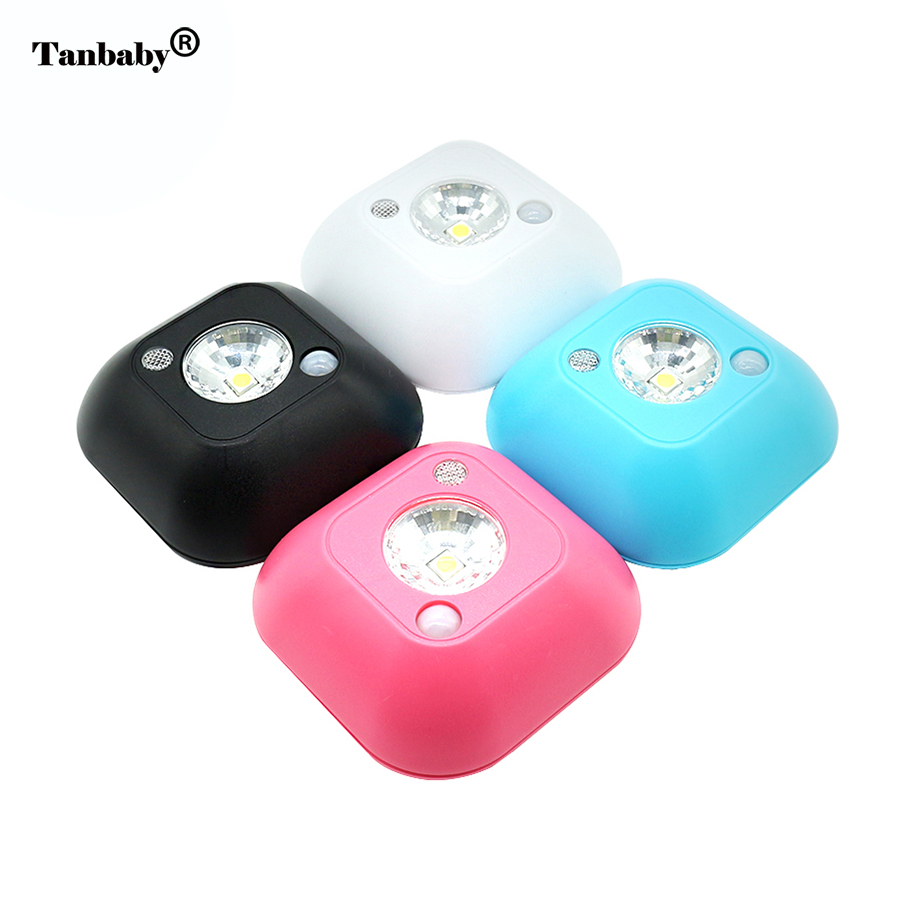 Tanbaby Motion Sensor LED Night Light AAA Battery Powered Mini Wireless Infrared Ceiling NightLight for Porch Cabinet kitchen