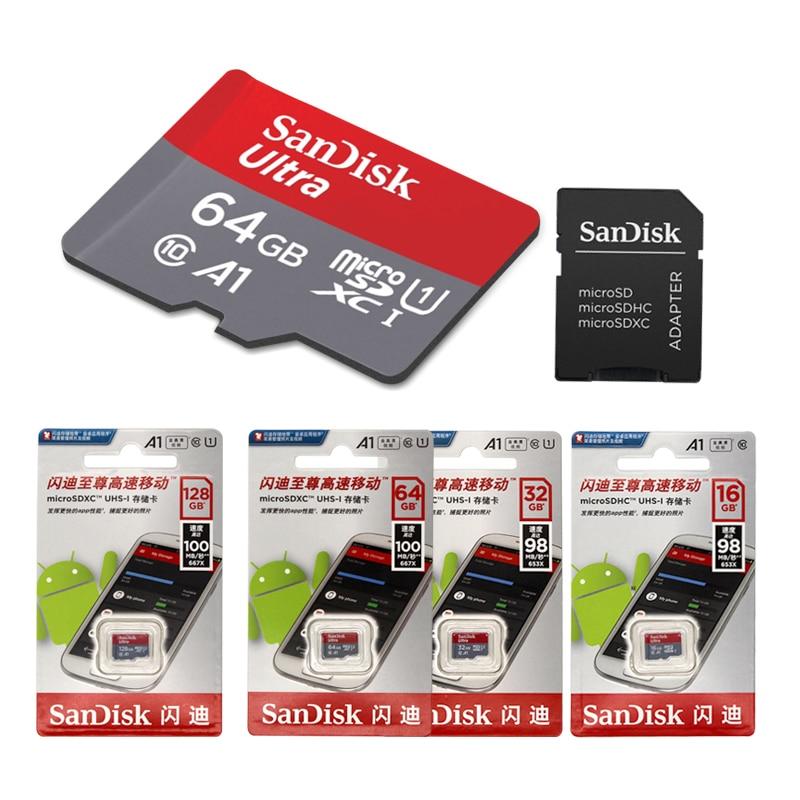 הגעה חדשה Sandisk A1 Class10 כרטיס מיקרו sd 16 GB 32 gb MicroSD 64 gb 128 GB 100 Mb/s מקורי כרטיס זיכרון + חבילה הקמעונאי